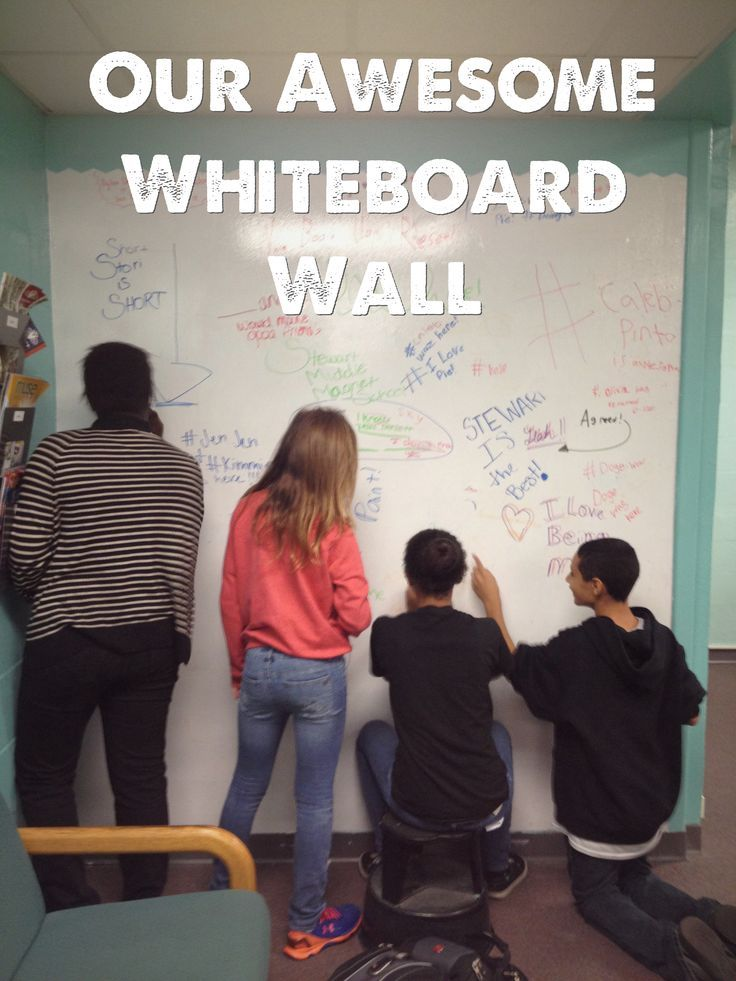 Our awesome whiteboard wall adding another interactive element to our library makerspace