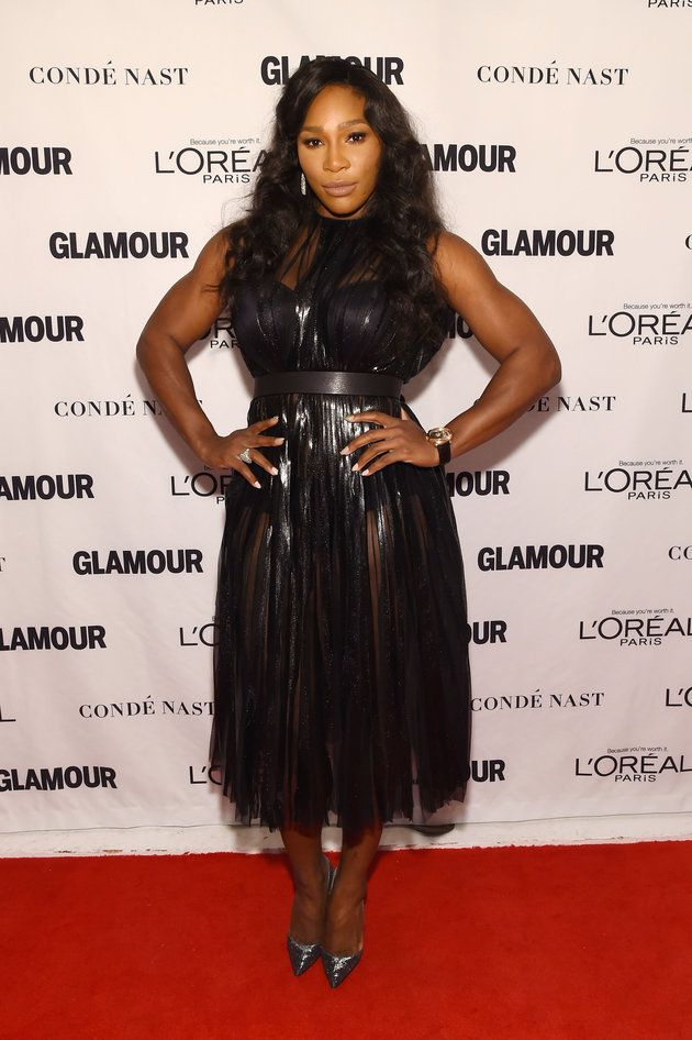 Serena Williams scored serious winning style points with a sheer black pleated dress