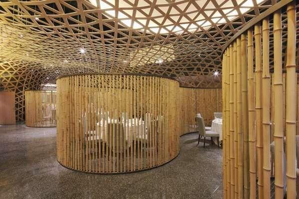 Rolling Bamboo Interiors Modern Restaurant Design Ceiling