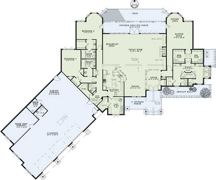 luxury style house plans - 4080 square foot home , 1 story, 3