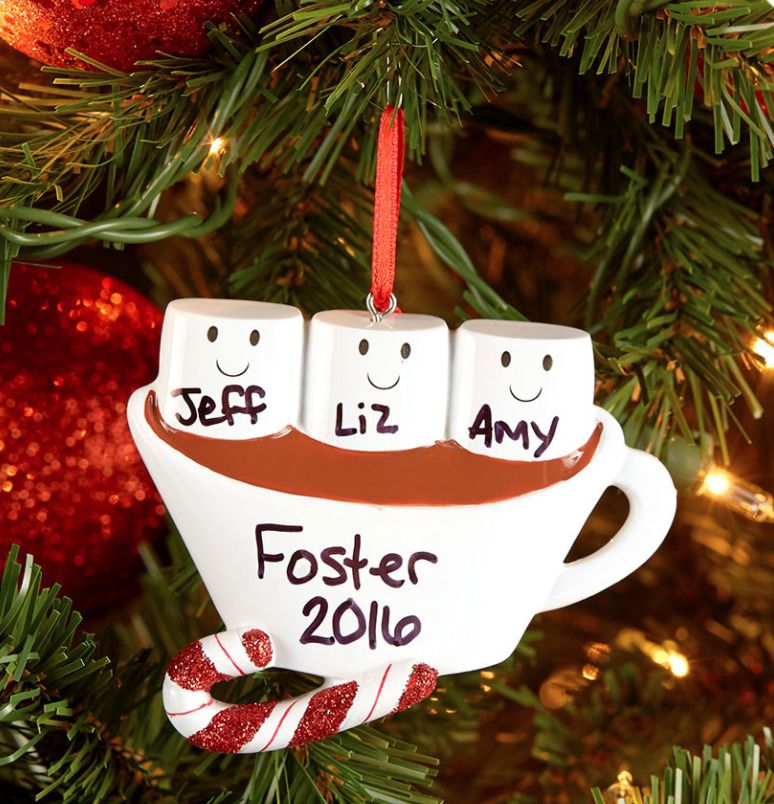 This Hot Chocolate And Marshmallow Christmas Ornament Allows You To Do Our Own Qui Family Ornaments Christmas Ornaments Personalized Christmas Ornaments Family
