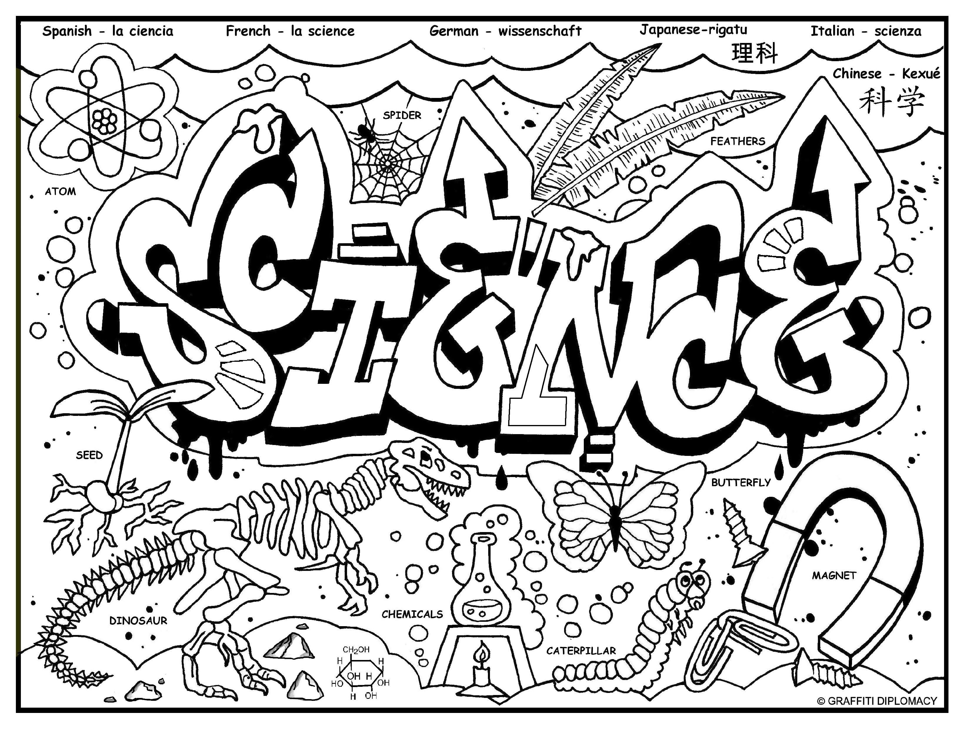 Science Graffiti Word Drawings Science Notebook Cover Science