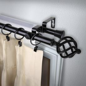 Rod Desyne Modern Twist 120 In To 170 In Black Steel Double Curtain Rod 4742 992 Double Rod Curtains Rod Desyne Curtain Rods