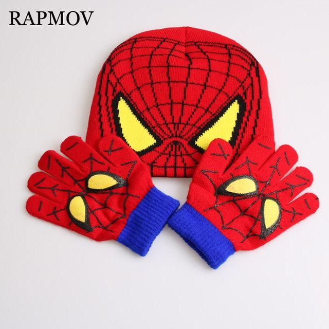 dc1575f96e5 Gloves + hat Hot Sale Children s Winter Cartoon Minions Glove Hat Sets  Fashion Kids Baby Warm Knitted Caps Spiderman hat gloves
