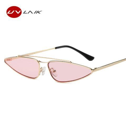 9d5e976e7b812 UVLAIK Vintage Cat Eye Sunglasses Women Brand Designer Small Frame Sun  Glasses Retro Black Eyewear Fashion Catwalk Glasses
