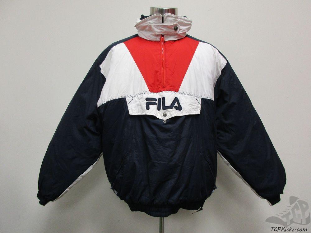ec324c7bad88 Vtg 90s Fila Half Zip Pullover Puffer Coat Jacket sz XL Extra Large Grant  Hill #Fila #BasicJacket #tcpkickz