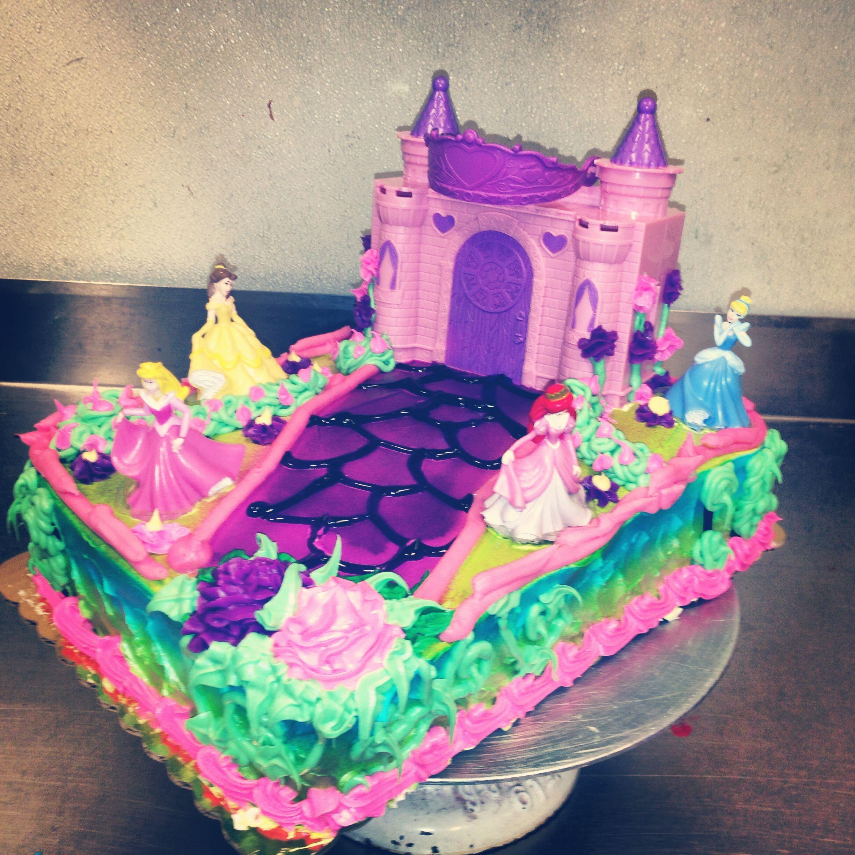 1/4 sheet cake, Disney Princesses castle spray painted ...