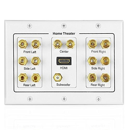 TNP Home Theater Speaker Wall Plate Outlet 71 Surround Sound Audio Distribution Panel Gold Plated Copper Banana Plug Binding Post Coupler RCA LFE Jack For