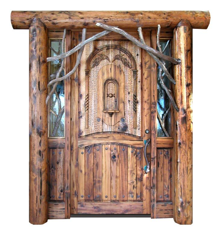Lodge Style Doors : Custom hand carved entrance door designed by