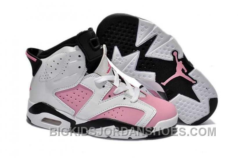a17bb3e0e606 Nike Air Jordan 6 Kids White Black Pink Shoes Online