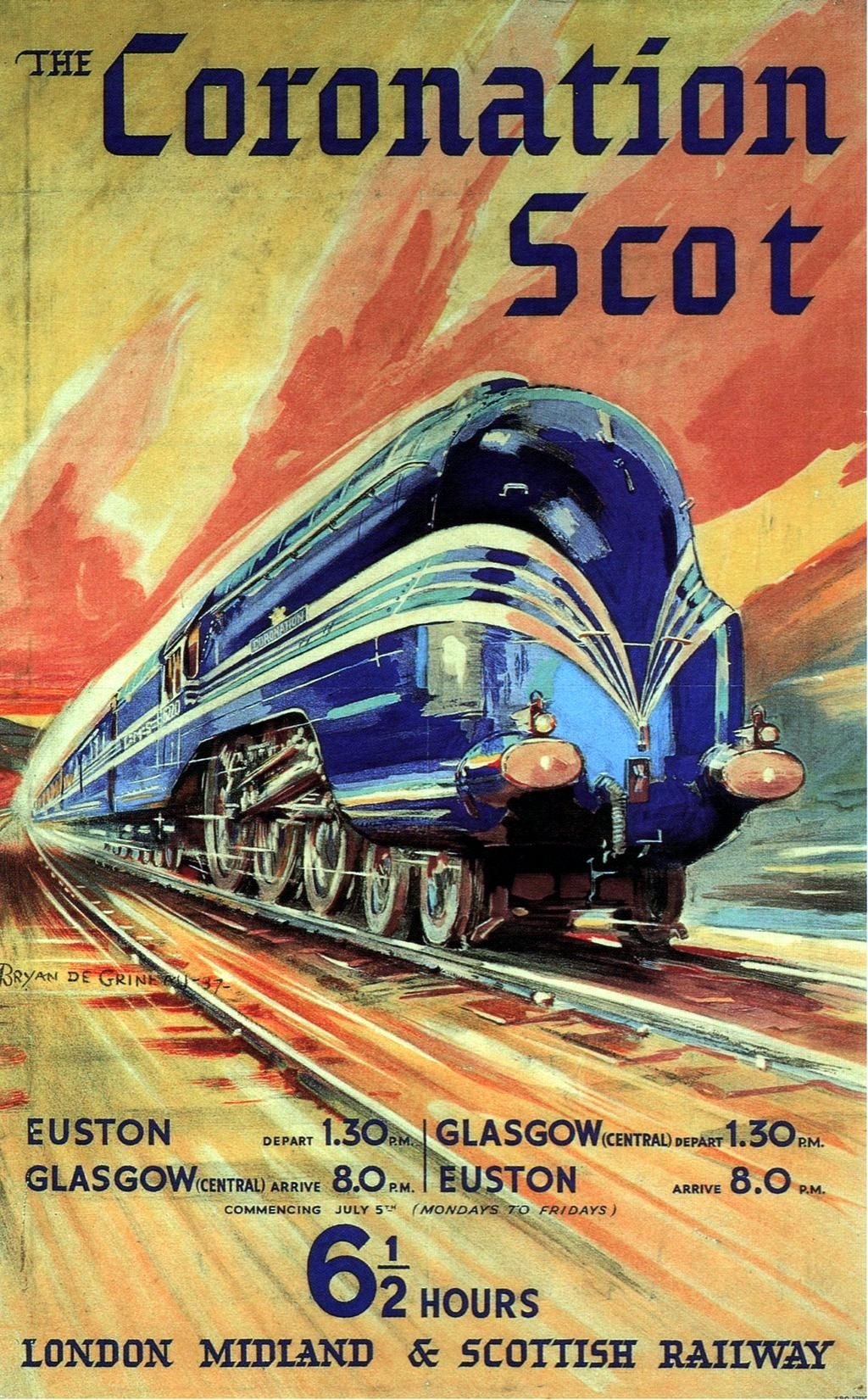 """The Coronation Scot"""" - Six and a half hours From Euston to Glasgow, 1937. Artist Bryan de Grineau."""
