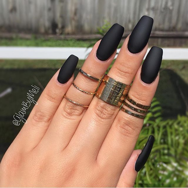 glambymeli matte black in @lauragpolish (jet setter) ~ Style of nail ...