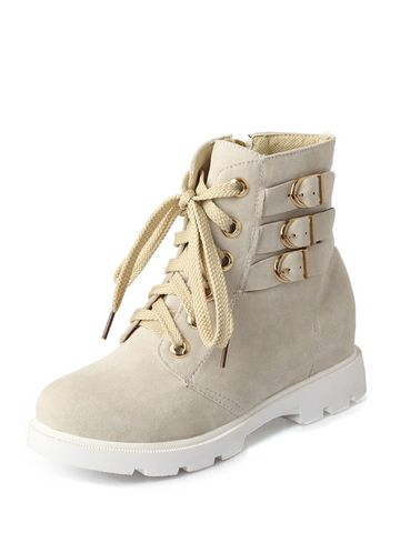 Stylish Suede Buckle Decorated Inner Heighten Women Boots