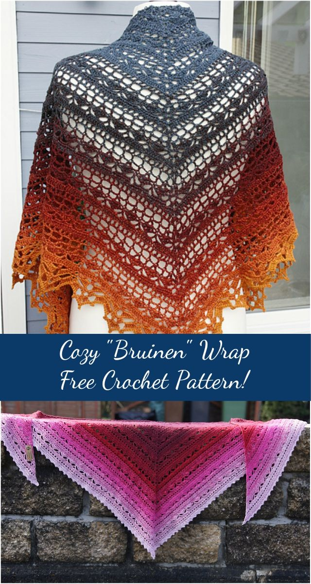 Free Crochet Pattern Cozy Bruinen Wrap I Love This Stitch And Yarn
