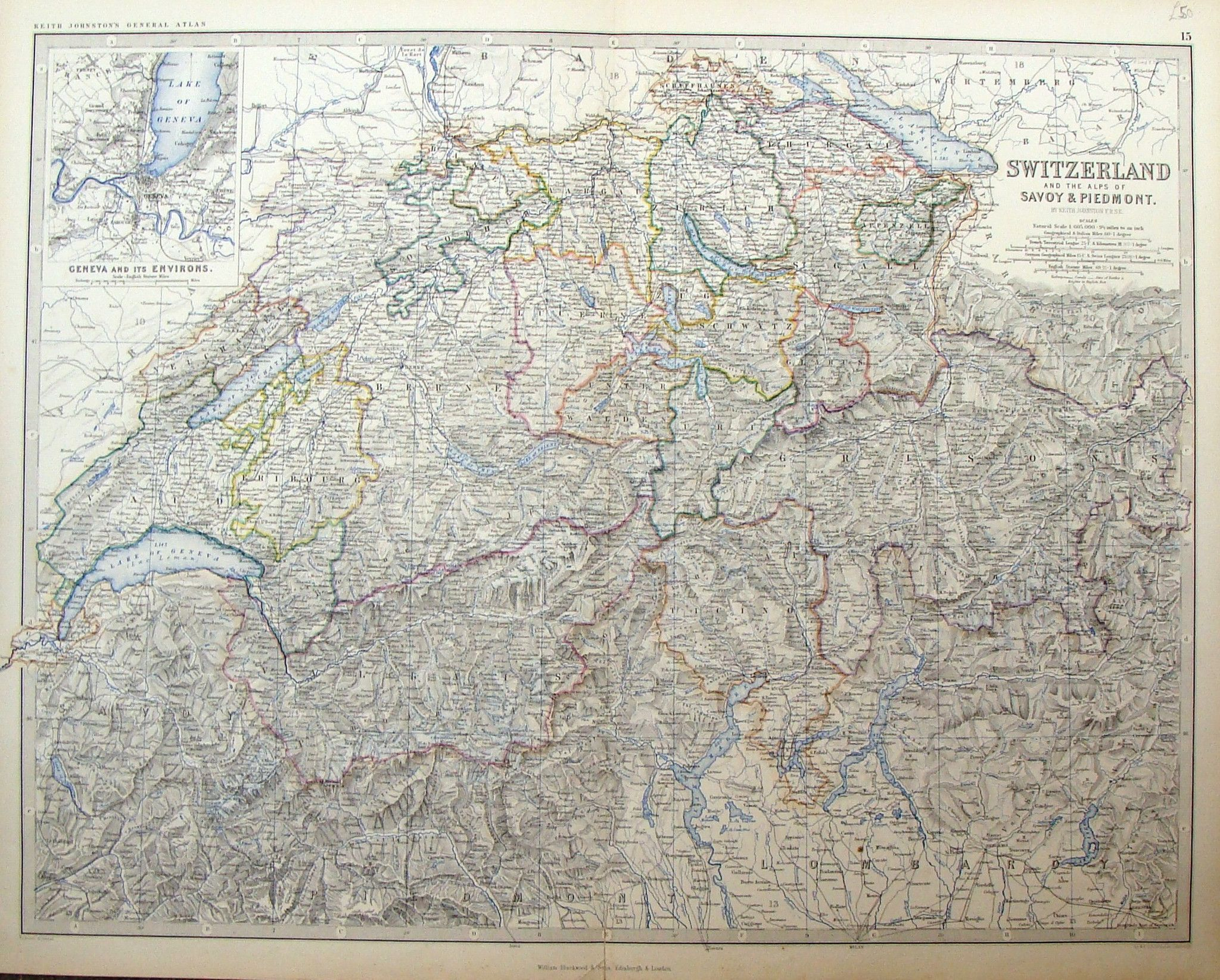 Large Antique Map by Johnston SWITZERLAND THE ALPS OF SAVOY