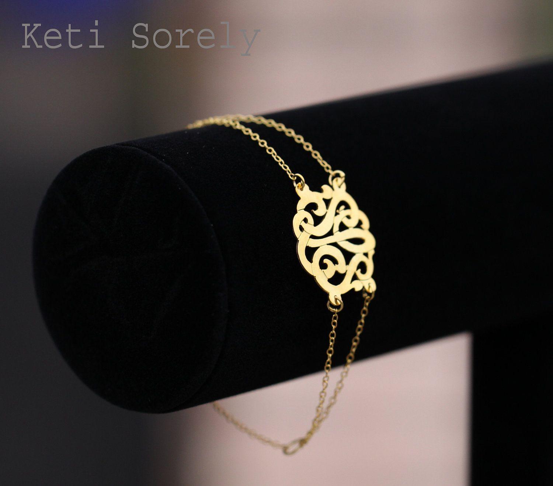 10k Gold Personalized Initial Bracelet Order Any Initials 199 00 Via Etsy Initial Bracelet Monogram Bracelet Gold Monogram