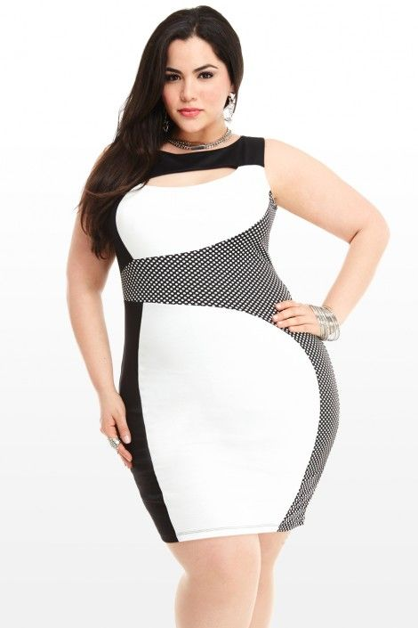 Contrast Plus Size Colorblock Dress Friendly Seductive Takeover