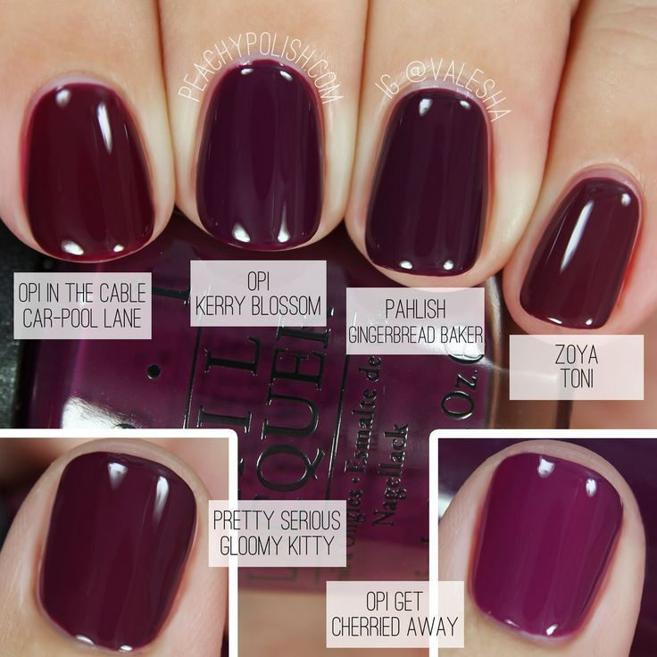 Comparison Of Fall Berry Nail Colors