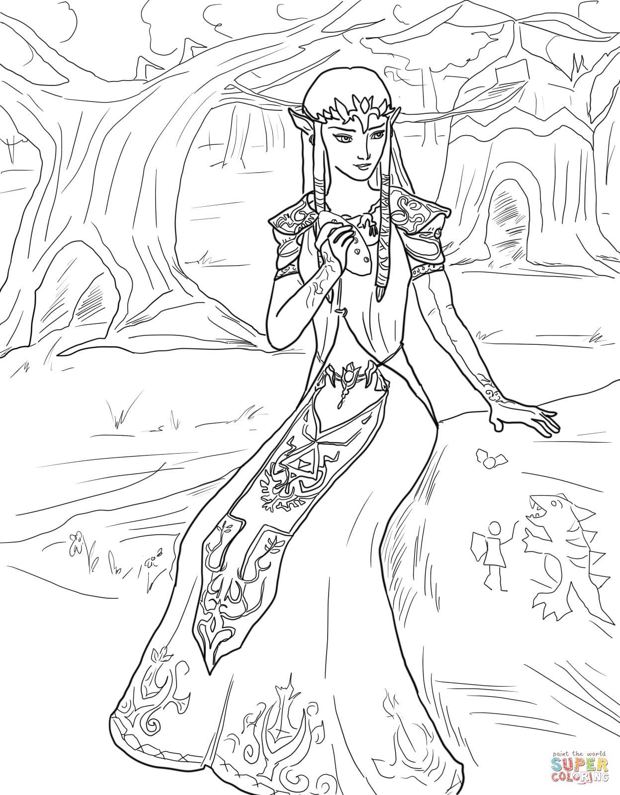 Legend Of Zelda Twilight Princess Coloring Page Princess Coloring Pages Princess Coloring My Little Pony Coloring