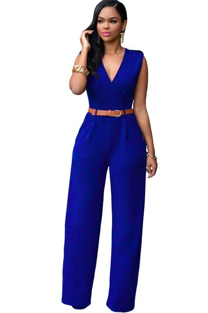 Royal Blue V Neck Belt Embellished Jumpsuit