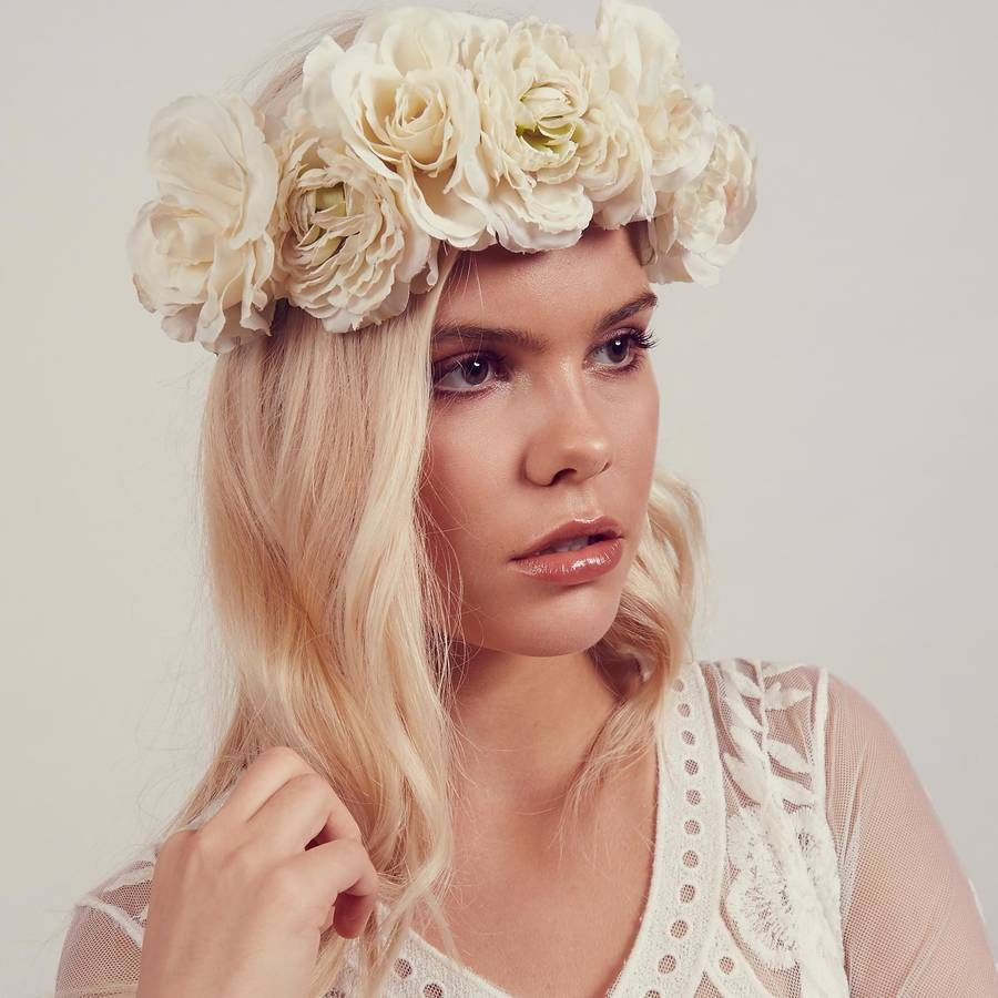 Martha White Rose Floral Crown Headband Floral Crown Crown
