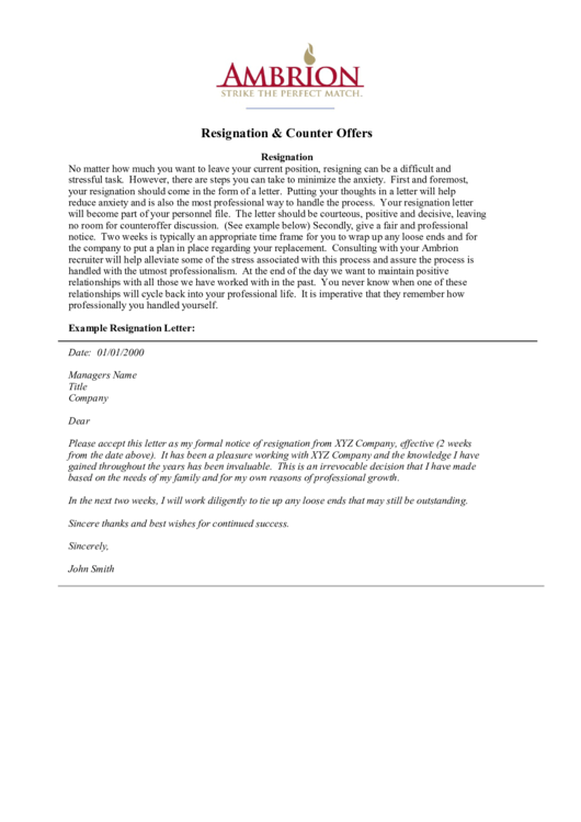 Need A Resignation Letter Sample? Here'S A Free Template! Create