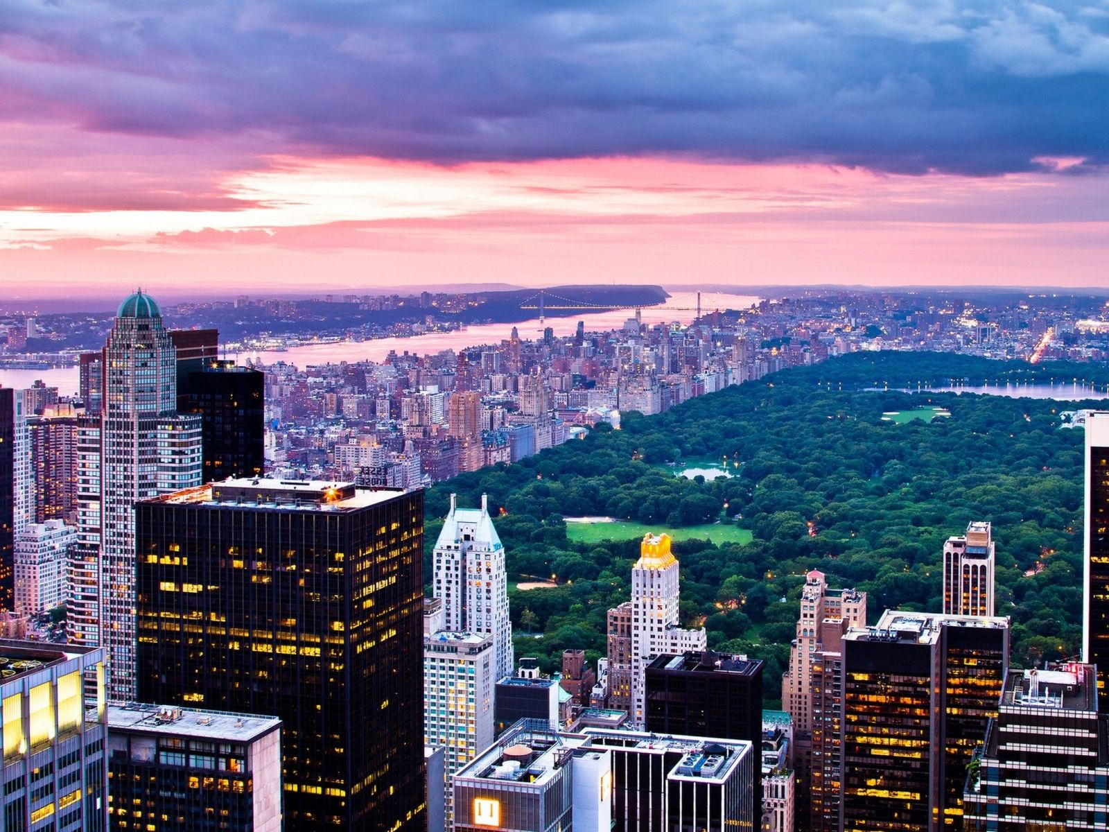 1600x1200 Wallpaper New York City Night Buildings Sky View From Above Centralnyj Park Reka Oazis