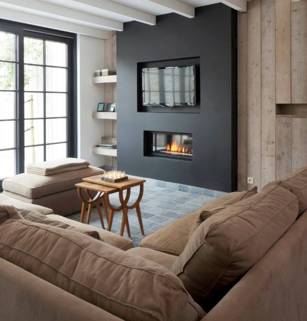Modern Plaster- Black Fireplace
