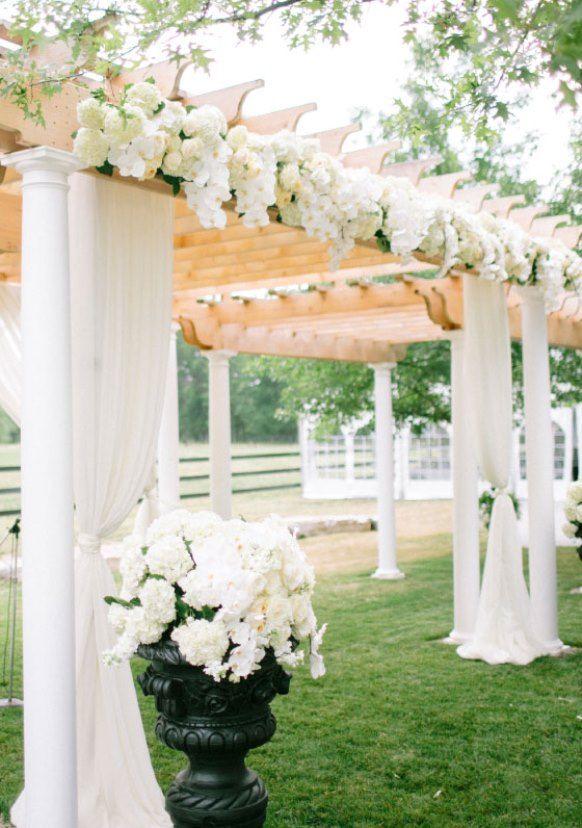 Outdoor+patio+wedding+ceremony+decor   Stylish White Wedding Ceremony  Decorations