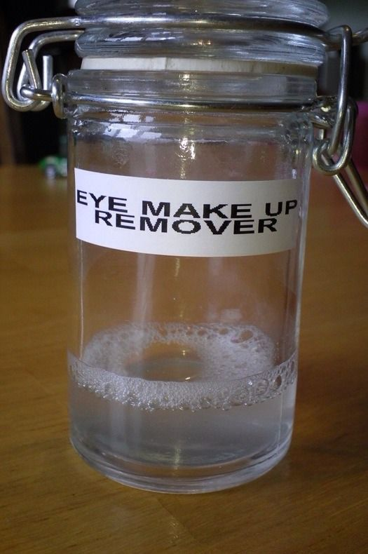 MAKE YOUR OWN EYE MAKEUP REMOVER   DIY Eye Makeup Remover : 1 cup of water , 1 1/2 tablespoons Tear Free Baby Shampoo , 1/8 teaspoon of Baby Oil . Directions: Add all ingredients in a small bowl and stir . Shake before every use.