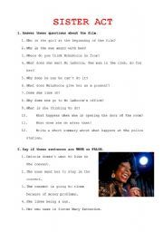 English worksheet: Activities for Sister Act film | READING ...