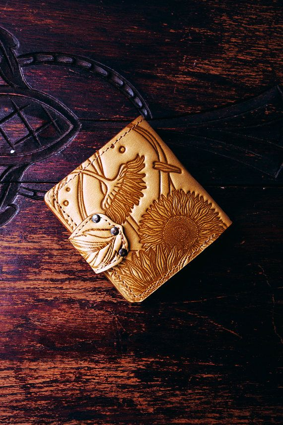 Yellow wallet with sunflower emboss. Yellow hand-crafted natural leather  wallet. Leather holder for 8375b931c6334