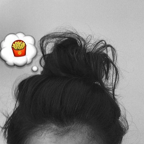 Image via We Heart It #blackandwhite #brunette #bun #fries #girl #emoji