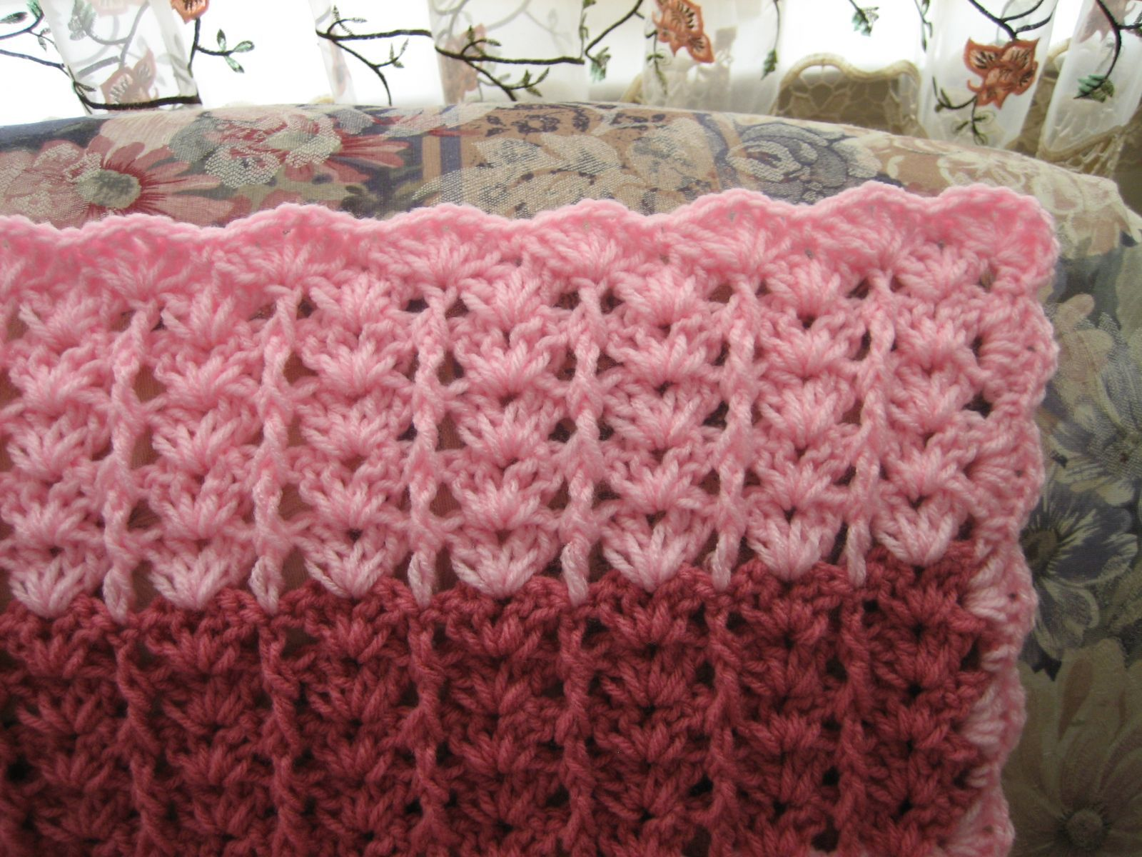 lacy shades of pink shells afghan crochet afghans