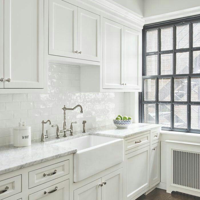 White Subway Tile Silver Hardware Dream Home Kitchen