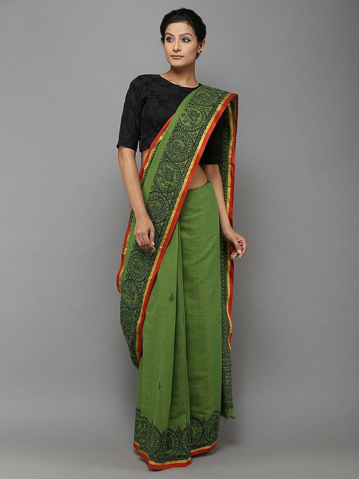 c36df4739e7b3 Hand Painted Green Cotton Saree from TheLoom.in