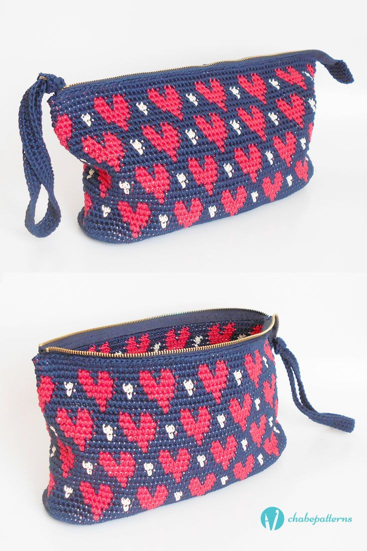 Hearts\' clutch pattern by Maria Isabel