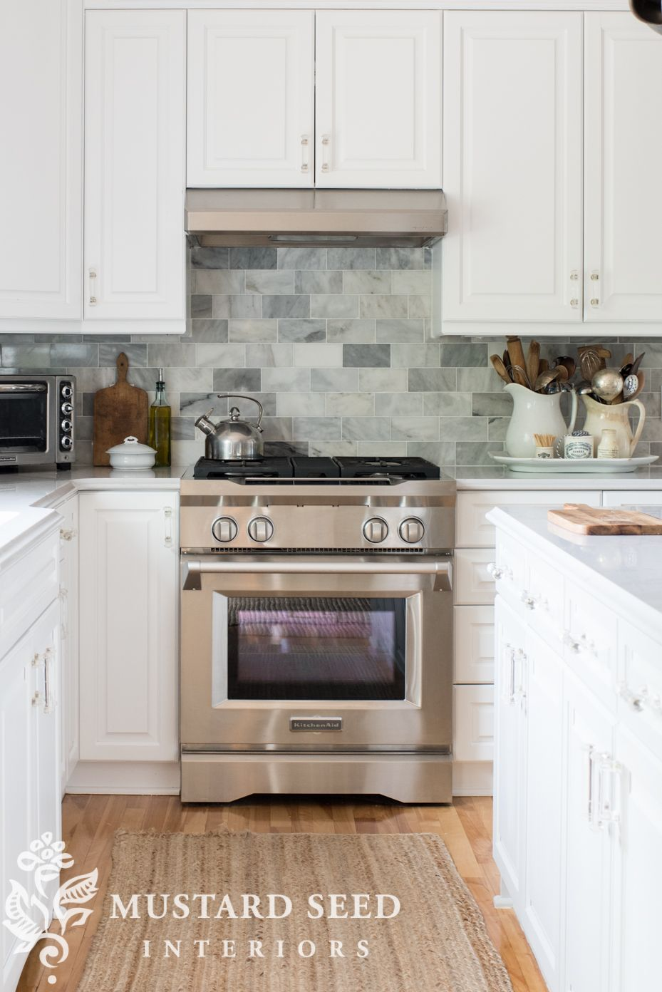 Kitchen Backsplash Details Says Venatino Marble Subway Tiles