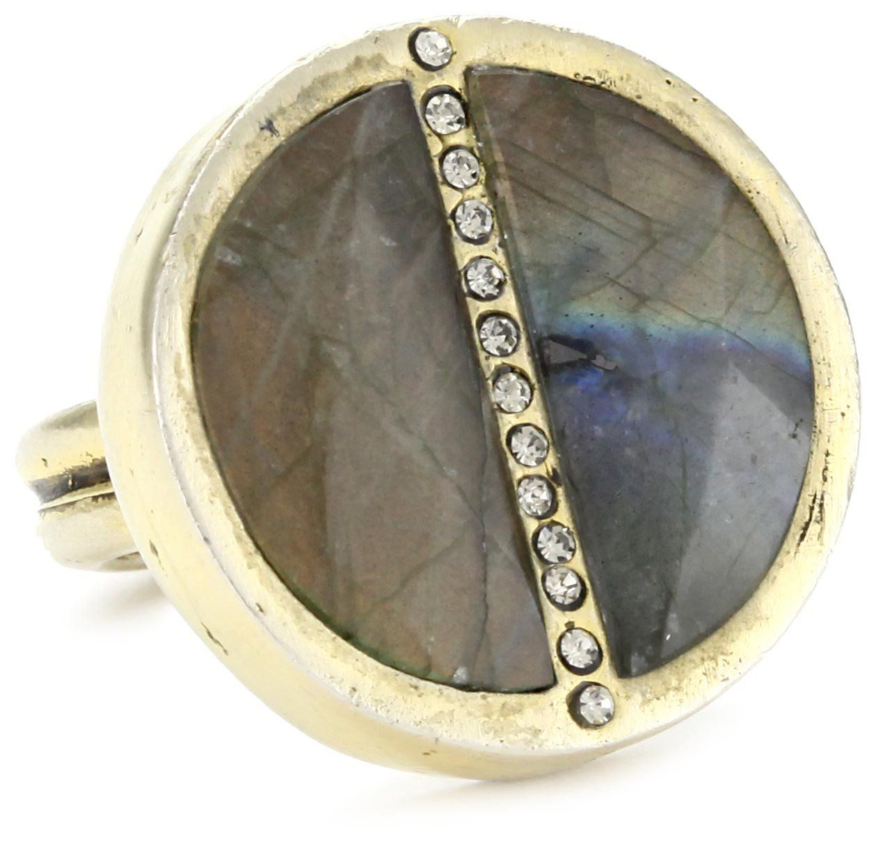 "Paige Novick ""Barcelona"" Labradorite Medallion Ring Size 7. The medallion has a row of crystal pave down the center. The medallion is outlined with a row of crystal pave. Because this is a natural stone, some variance will occur. This ring is proudly handmade. Made in United States."