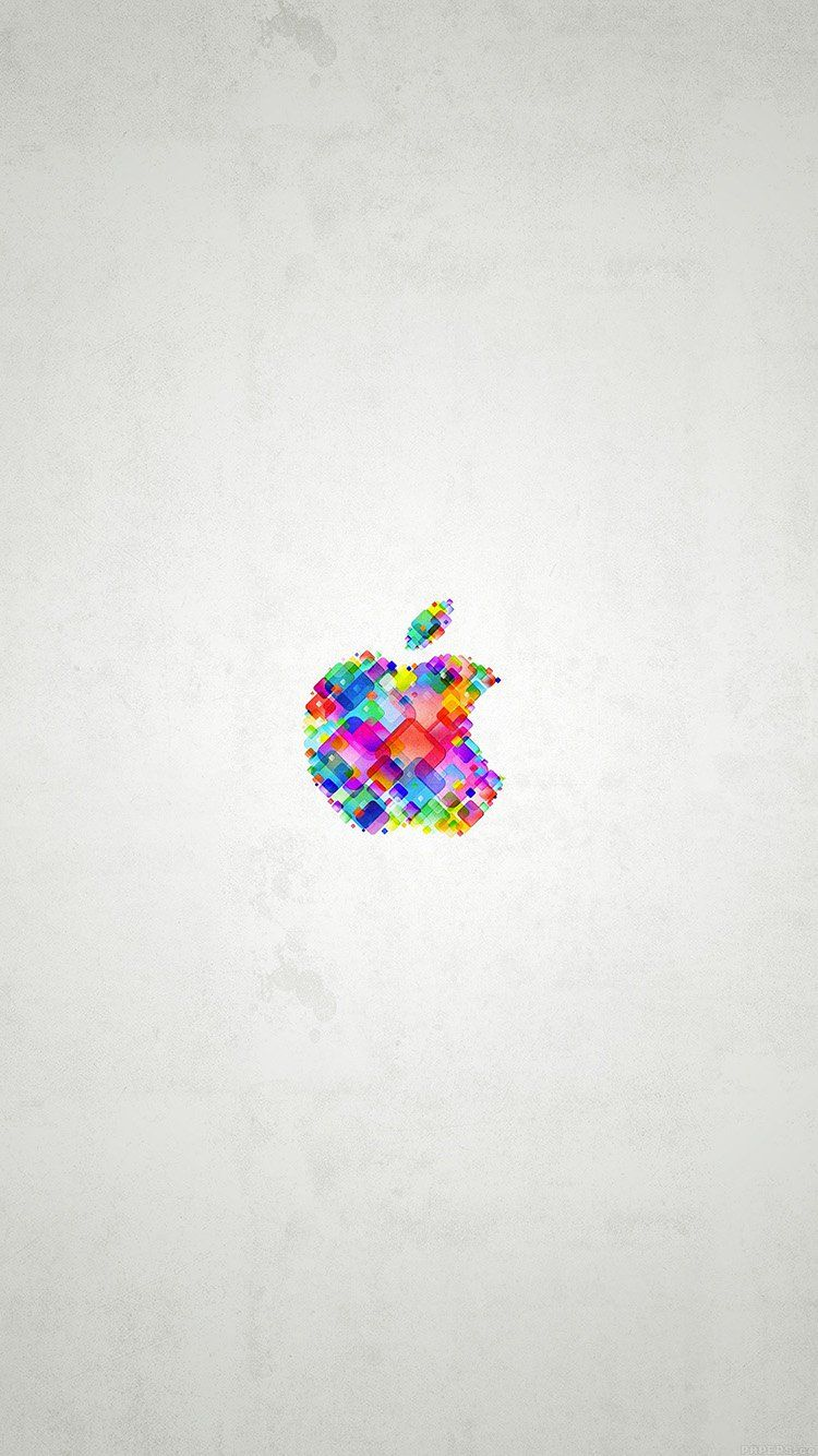 Colorful Apple Icon With White Background IPhone Wallpaper