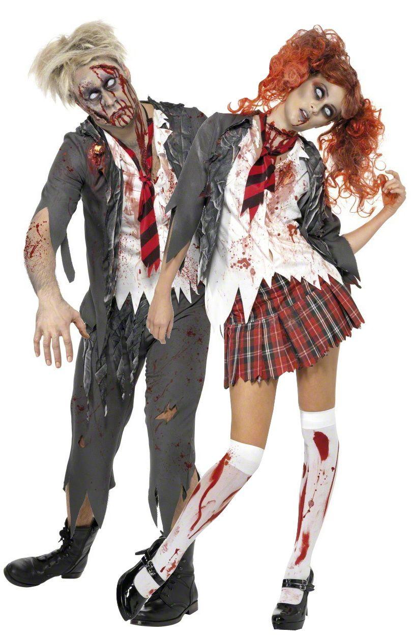 Disfraz de pareja de colegiales zombies, ideales para Halloween. Disponible en www.vegaoo.es