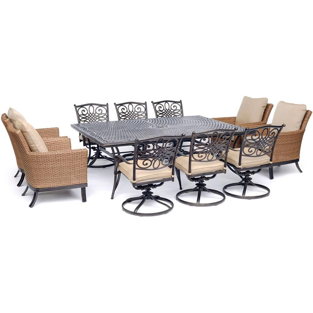 Hanover Traditions 11 Piece Aluminum Outdoor Dining Set With Tan Cushions Traddn11pcos4 Sw6 Outdoor Dining Set