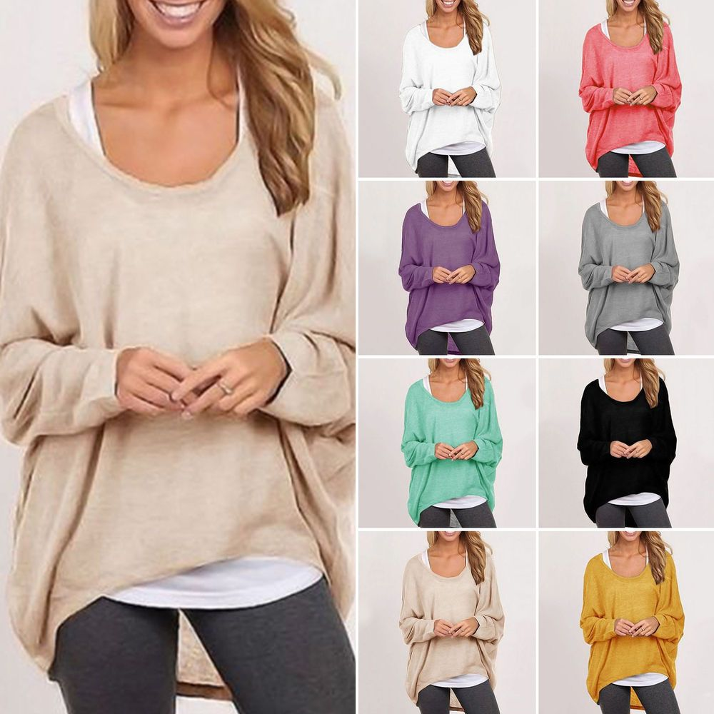 Details about Women Plus Size Long Sleeve Pullover Casual Knitted ...