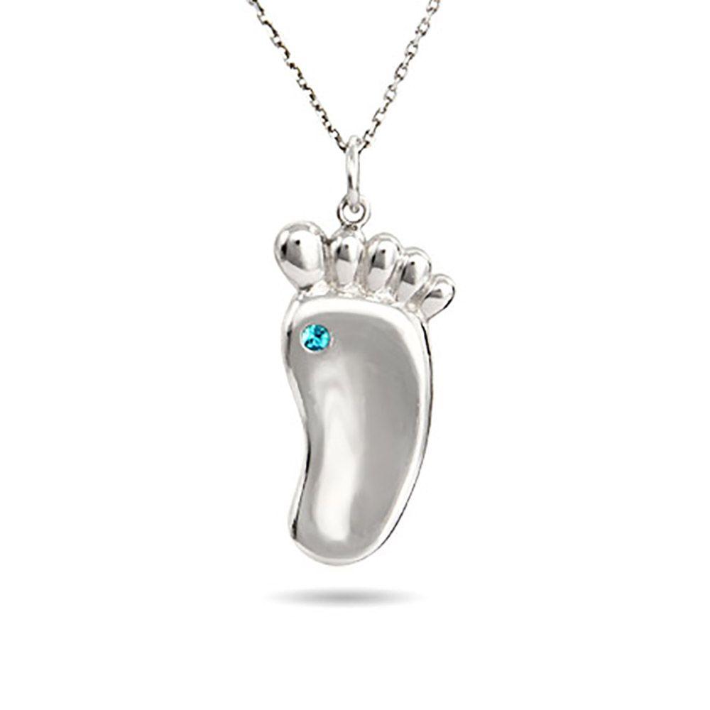 Sterling silver baby footprint custom birthstone pendant baby custom baby footprint birthstone necklace aloadofball Choice Image