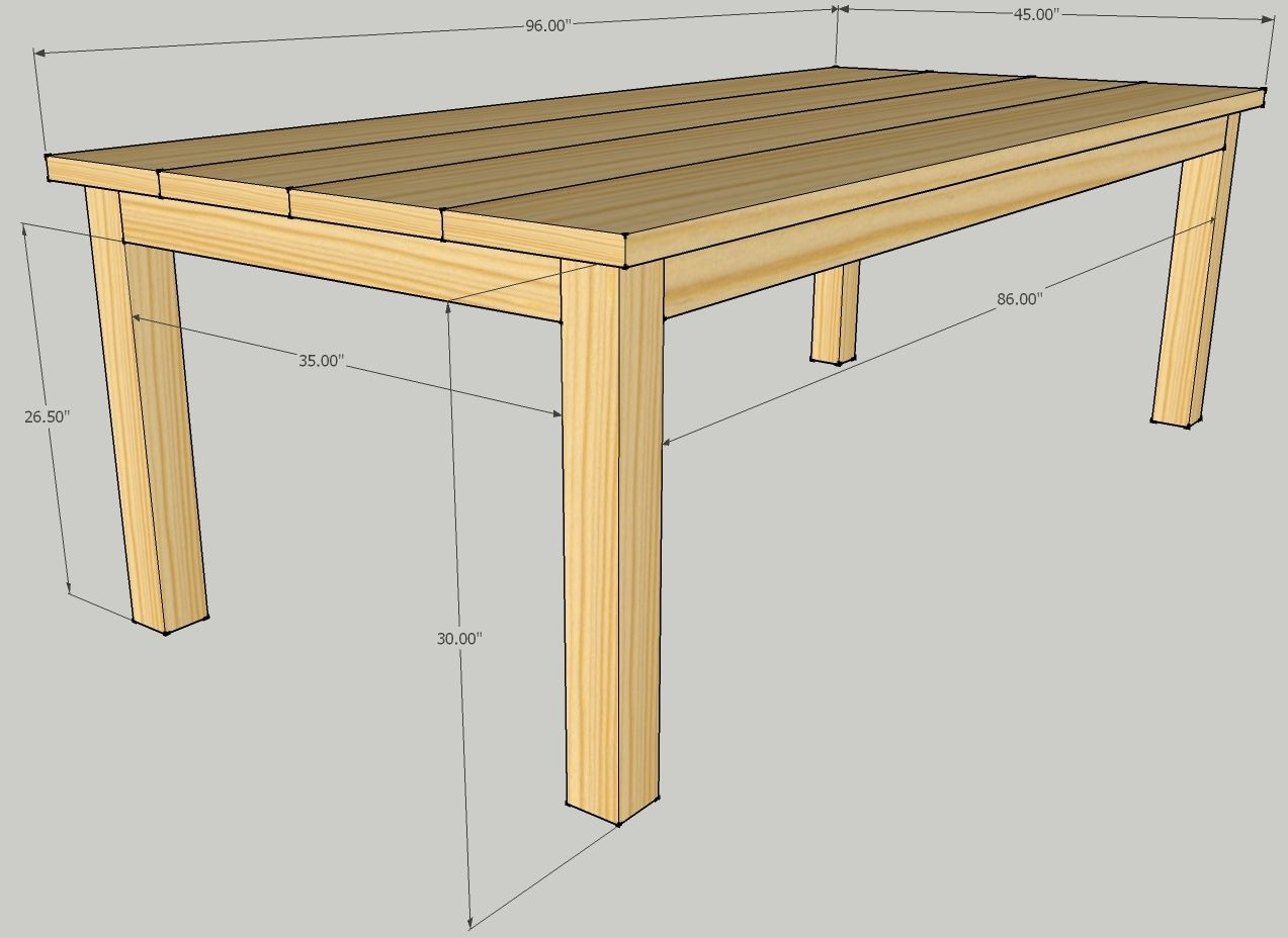 Build patio dining table plans diy plans simple gun for Table design plans