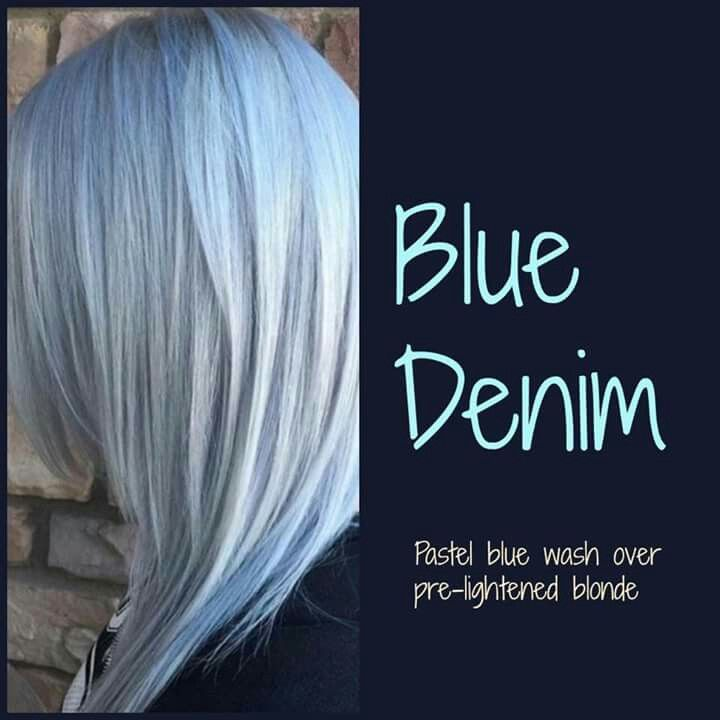 Love This Blue Over Blonde Denim Blue Hair
