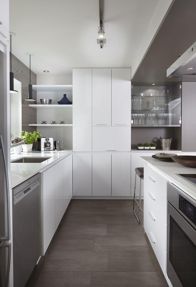 Armoires de cuisine moderne en merisier laqué deux teintes ...