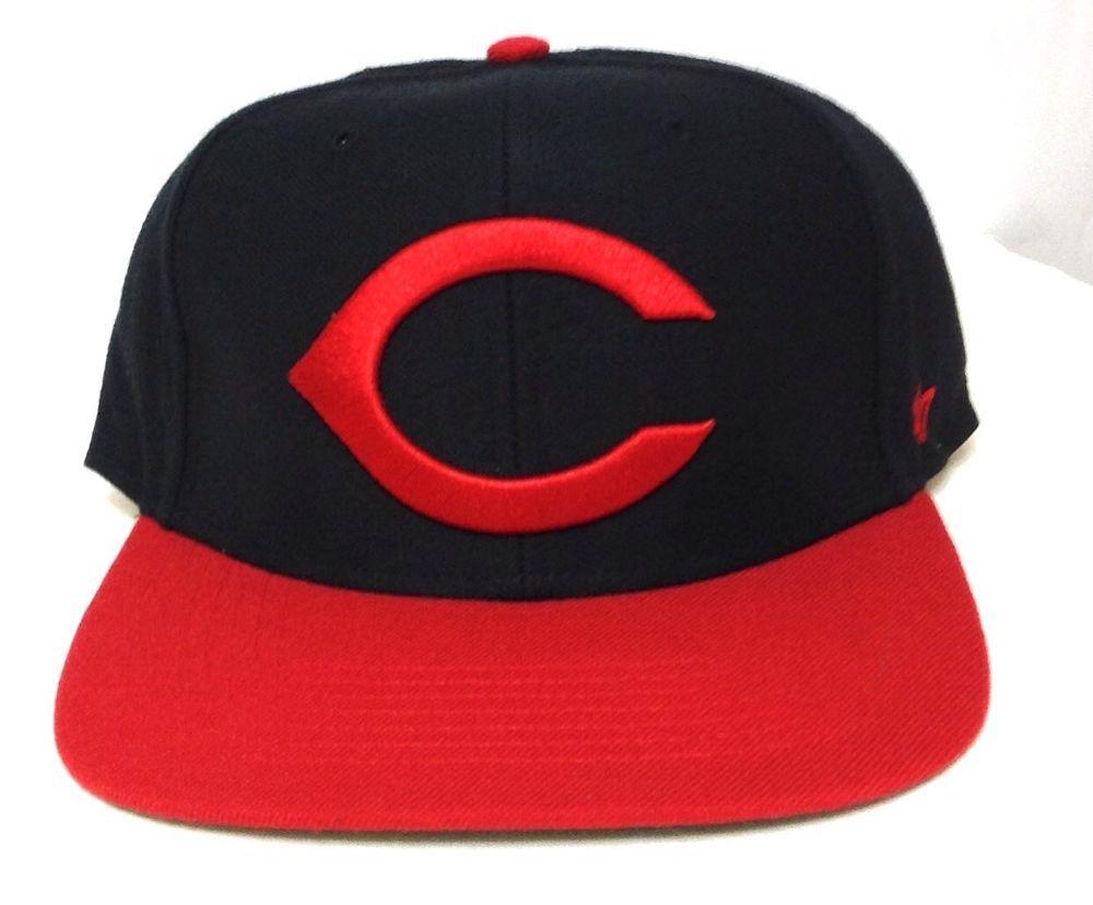 super popular 44d77 cf926 Fitted-Size 7-1 2 CINCINNATI REDS FLAT-BILL HAT Black Red 47-Brand  Men Women Cap  47Brand  CincinnatiReds