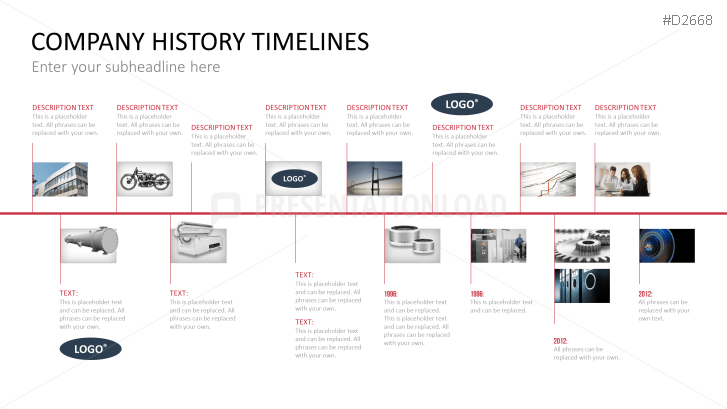 Powerpoint Timeline Template For Company Histories Timeline Design History Powerpoint