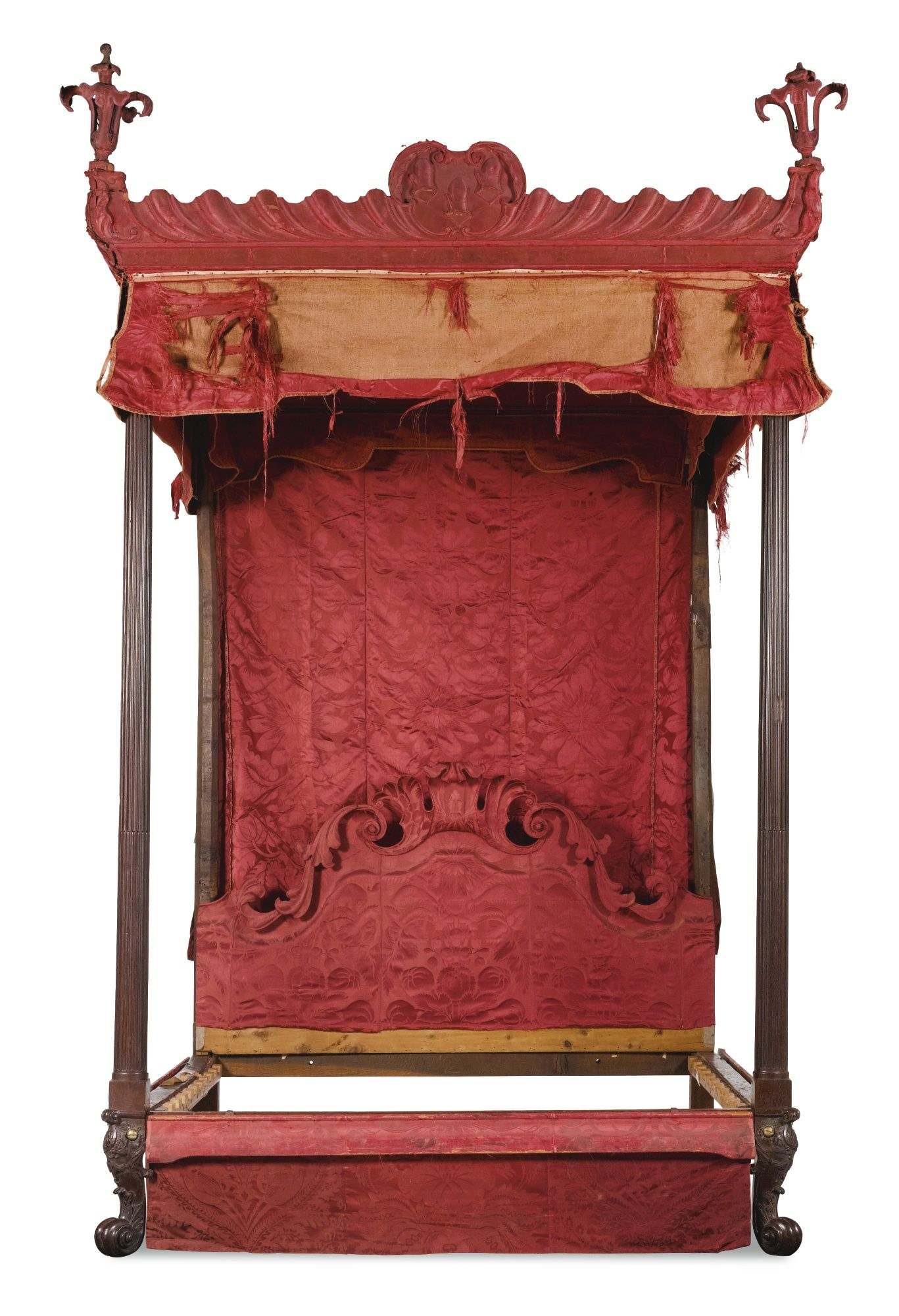 c1740 A II mahogany and silk damask four poster bed